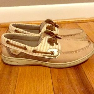 Gold sparkly Sperrys